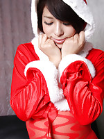 Yuma Ueda Asian is Santa hot girl in crotchless red stockings